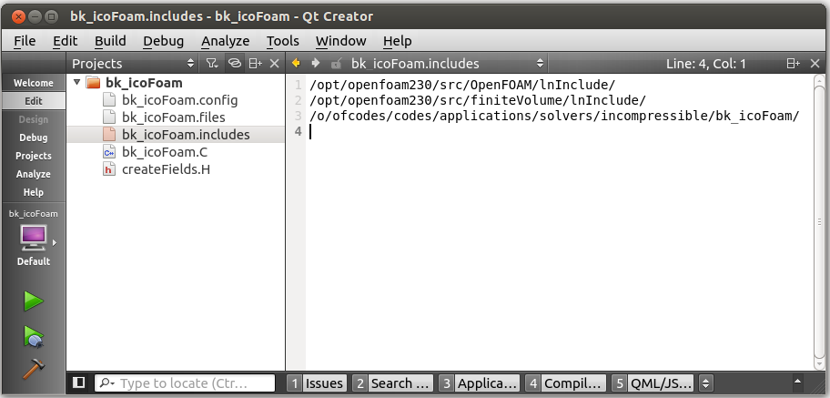 Qt Creator setup for OpenFOAM
